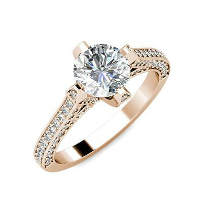 2.20 Ct 14K Rose Gold Round Forever One Moissanite and Diamond Engagement Ring