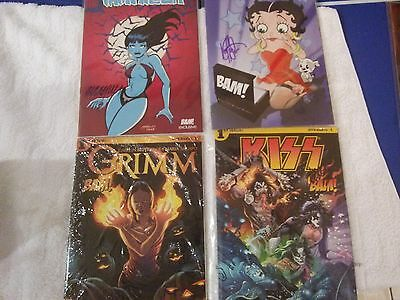 Kiss ,Betty Boop Red Sonja, Grimm Bam Box Exclusive Comic Lot Signed WITH COA