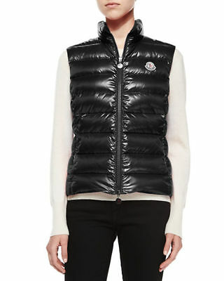 """Moncler Women's """"Ghany"""" Quilted Down Puffer Vest, Black, Size M (Moncler 2)"""