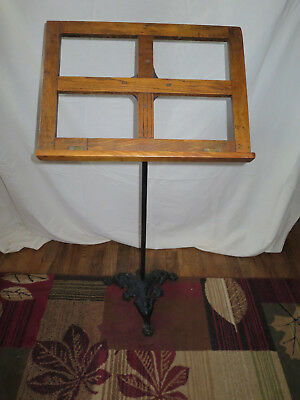 Gorgeous Victorian Music Stand w/ Cast Iron Base and Oak Top Adjustable