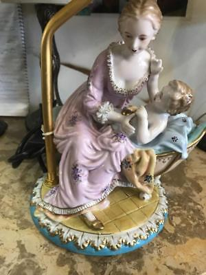 Meissen Porcelain Figural Group Converted To A Lamp..