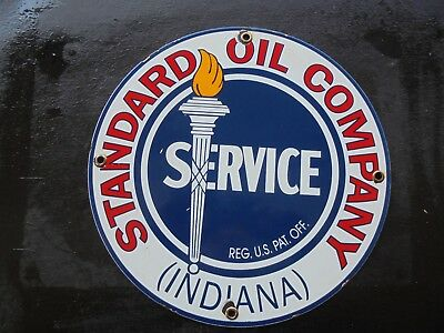 Vintage Standard Oil Company porcelain gas pump sign torch garage