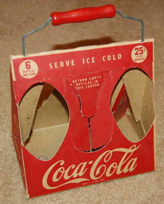 Coca-Cola 1940's Triangle Cardboard Carrier w/ Wooden Handle 6 pack