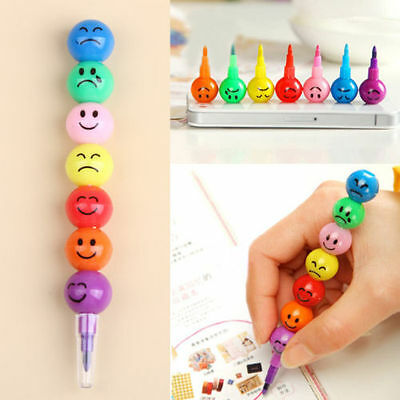 Fashion 7 Colors Cute Stacker Swap Smile Face Crayons Children Drawing Gifts Pro