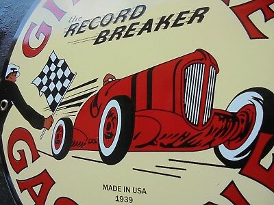 Vintage Gilmore Record Breaker porcelain gas pump sign race car checkered flag
