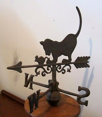 "Amazing Cat & Mouse Weather Vane ~ Antique? ~ 16"" Tall ~ Arrow ~ Hard To Find!!"
