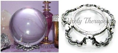 CRYSTAL BALL STAND SCALLOPED PEWTER~for gemstone sphere wicca pagan spiritual