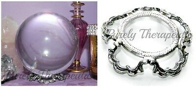 SCALLOPED PEWTER CRYSTAL BALL STAND~for gemstone sphere wicca pagan spiritual