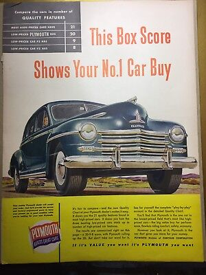 1948 Plymouth Magazine Ad From October 1947 - Free Shipping