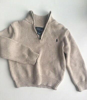 Polo Ralph Lauren Toddler Boys Half Zip Sweater Size 4T Beige Preppy