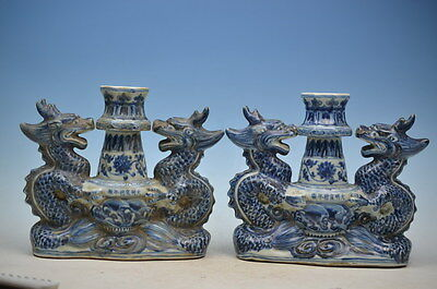 Apair beautiful chinese hand-painted  Porcelain Dragon Candle Holders