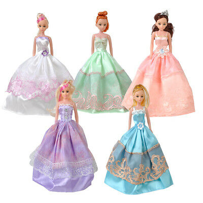 5 Pack Princess Wedding Dress Party Dress/Clothes/Gown Outfits for Barbie Doll