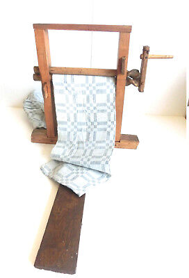 19th antique handmade wringer fabric mill gin wood ~ primitive press tool device