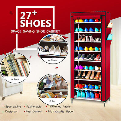 Wine Red 9 Tier Portable Storage Shoe Rack Cabinet Holder Wardrobe Organiser AU