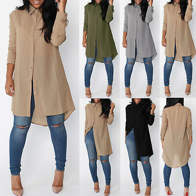 Women Fashion Long Sleeve Chiffon Bloues Shirt Tops Tunic Shirt Dress Casual Top
