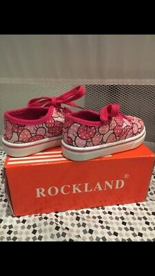 Rockland Toddler Girls Size 4 White Pink Bow Casual Lace Up Shoes Sneakers c64c7839e