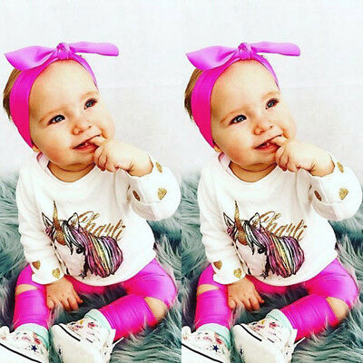 US Stock Unicorn Toddler Baby Girl Kids Outfit Clothes Tops Shirt Pants 3Pcs Set