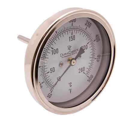 "Industrial Thermometer 5"" Face x 4"" Stem, Stailess Steel Case 50-500F"