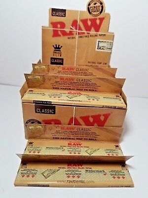 AUTHENTIC Raw Classic King Size Slim Rolling Paper Full Box Of 50 Packs