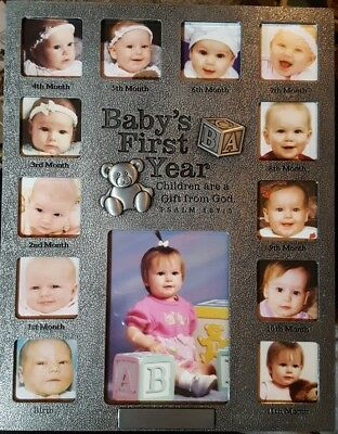 """NEW Lighthouse Baby's First Year Metal 13 Photo Frame Collage 9 1/2"""" x 12"""" 25004"""