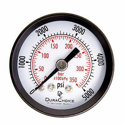 "1-1/2"" Utility Pressure Gauge - Blk.Steel 1/8"" NPT Center Back 5000PSI"