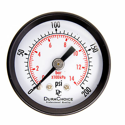 "1-1/2"" Utility Pressure Gauge - Blk.Steel 1/8"" NPT Center Back 200PSI"