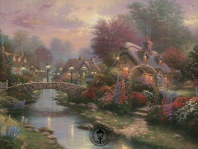 Lamplight Bridge -- Painter of Light Art Card -- Thomas Kinkade Dealer Postcard