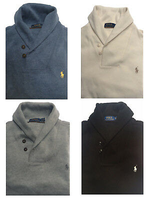 NEW Polo Ralph Lauren Men's Mock Neck Shawl French Rib Cotton Sweater All Sizes
