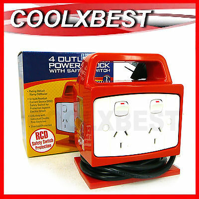 NEW PORTABLE RCD PROTECTED 4 OUTLET POWER BLOCK 10amp WORKSHOP POWERBOARD