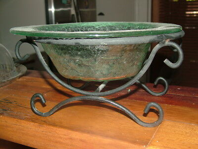 Very nice fruit bowl metal frame rippled glass large