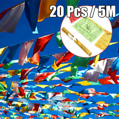10M Tibetan Buddhist 20 Pcs Prayer Flags String Silk Religious Wind Horse Wall