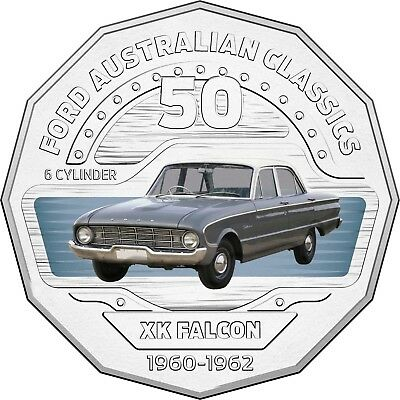 2017 RAM 50c UNCIRCULATED COLOURED COIN FORD CLASSICS - 1960-1962 FALCON XK