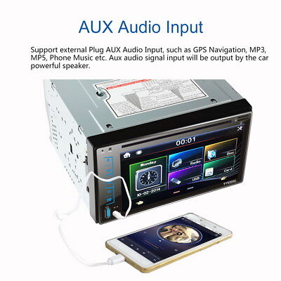 """6.2"""" HD Auto 2 DIN Bluetooth Stereo Media Player DVD/MP3/FM/AM/USB/SD/AUX-IN"""