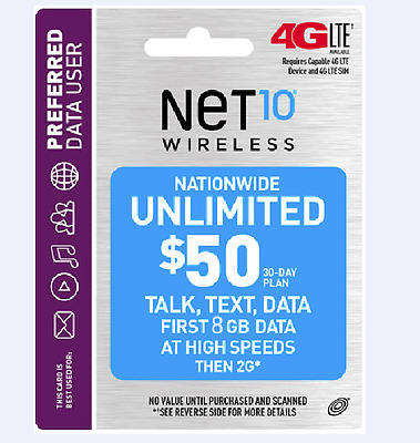 Net10 $50 30 Day Unlimimited Talk & Text With 8GB High Speed Data