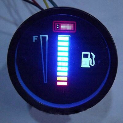 "2"" 52mm Universal Car Motorcycle Fuel Level Meter Gauge LED Light Display 12V GL"