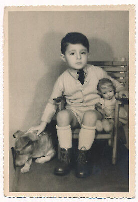Cute Boy kid with Doll sitting in armchair and Dog pet  old orig. photo vintage