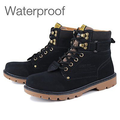 Mens Boots Waterproof Leather Hiking Walking Boots Shoes Lace Up Boots