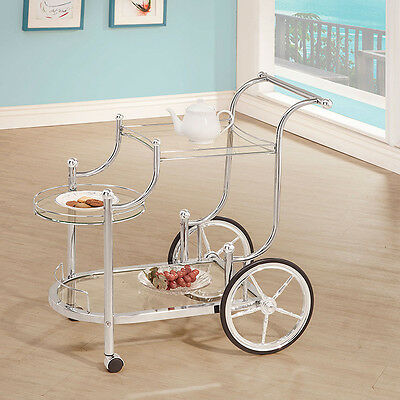 Serving Cart with Wheels Glass Chrome Decor Removable Tray Bar Party Entertain