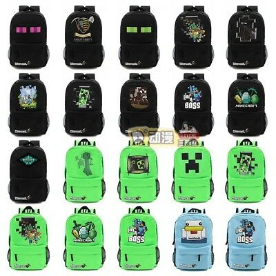 Minecraft School Backpack Waterproof Rucksack Boy Book Sport Bag Various Designs