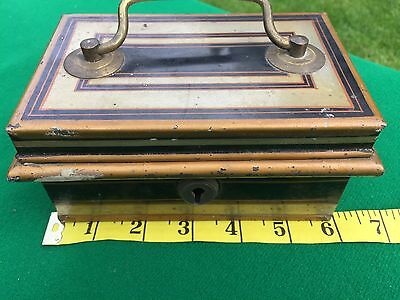 Antique black and gold metal cash box, really good condition with Key