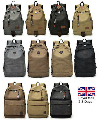 Large Vintage Canvas Backpack Rucksack School Satchel Hiking Bag Camping Travel