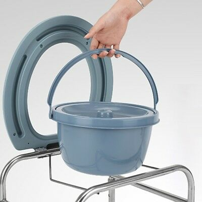 Folding Commode Chair Heavy Duty Steel Bedside Toilet Seat Large Capacity.