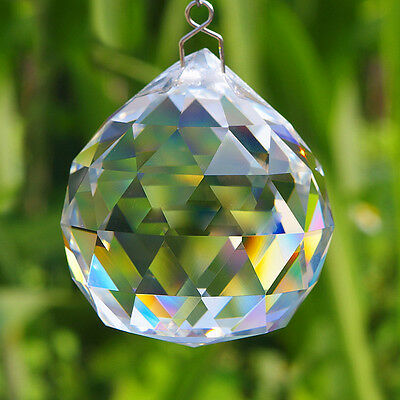 Hanging 90g CRYSTAL BALL 40mm Sphere Prism Faceted Sun Catcher Clear Pendant  .
