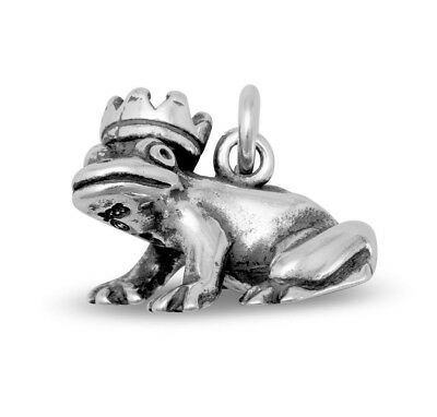 Frog Prince Charm 925 Sterling Silver Pendant Animal Toad Crown