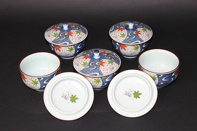 Antique Japanese ARITA pottery TEA CUPS x5p for SENCHA VINTAGE from JAPAN a279