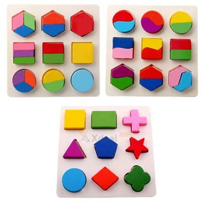 Baby kids Wooden fraction puzzle toy for Montessori early  educational learning