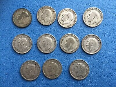 11 x Pre-47 Silver sixpences of George V and George VI mixed dates.