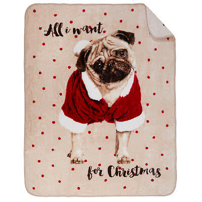 Dreamscene Large Faux Fur Throw Bed Blanket All I Want Pug Christmas 150 x 200cm