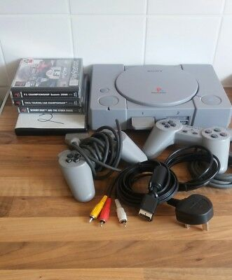 Ps1 Playstation One 2 Original Controlers 5 Games Retro/vintage Gaming