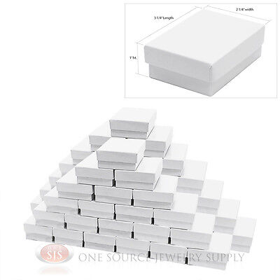 """50 White Gloss Cotton Filled Jewelry Gift Boxes 3 1/4"""" X 2 1/4"""""""